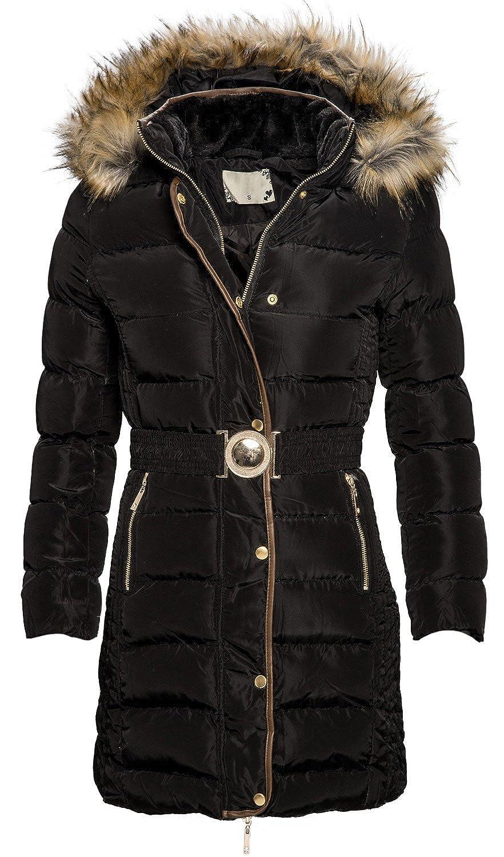 Damen Winter Jacke langer Parka gefütterter Mantel Winterjacke gesteppt B341