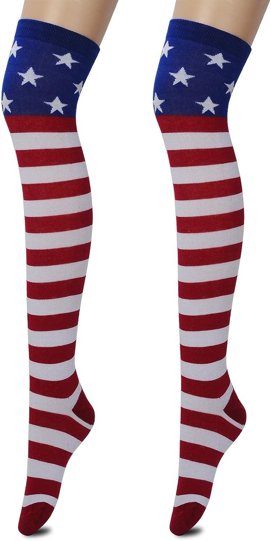 1 Pair USA American Flag Knee High Woman Sock 4th Of July Patriotic Memorial Day