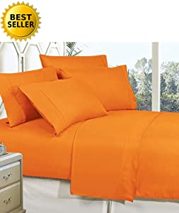 CELINE LINEN Best, Softest, Coziest Bed Sheets Ever! 1800 Thread Count Egyptian Quality Wrinkle-Resistant 4-Piece Sheet Set with Deep Pockets 100% Hypoallergenic, Queen Vibrant Orange