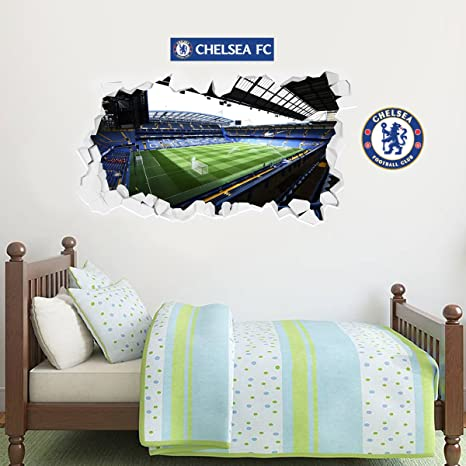 Chelsea Football Club Official Stamford Bridge Stadium Smashed Wall Mural Sticker + Chelsea Badge Decal Set