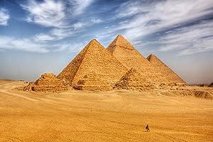 Man on Camel Riding Towards Egyptian Pyramids Photo Photograph Cool Wall Decor Art Print Poster 18x12