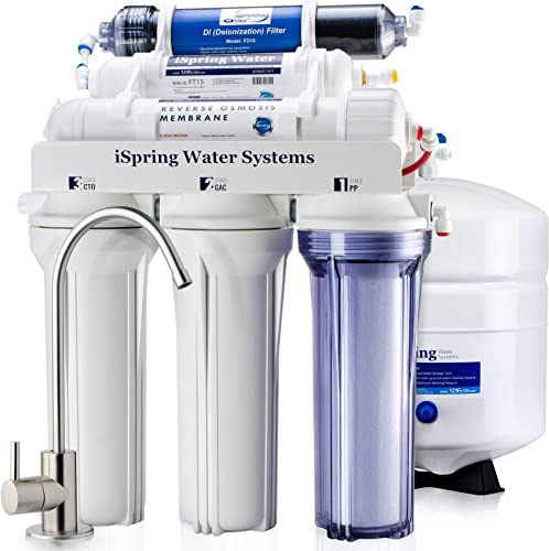 iSpring RCC7D 5GPD Under Sink 6-Stage Reverse Osmosis Drinking Filtration System and Ultimate Softener with DI De-ionization Water Filter