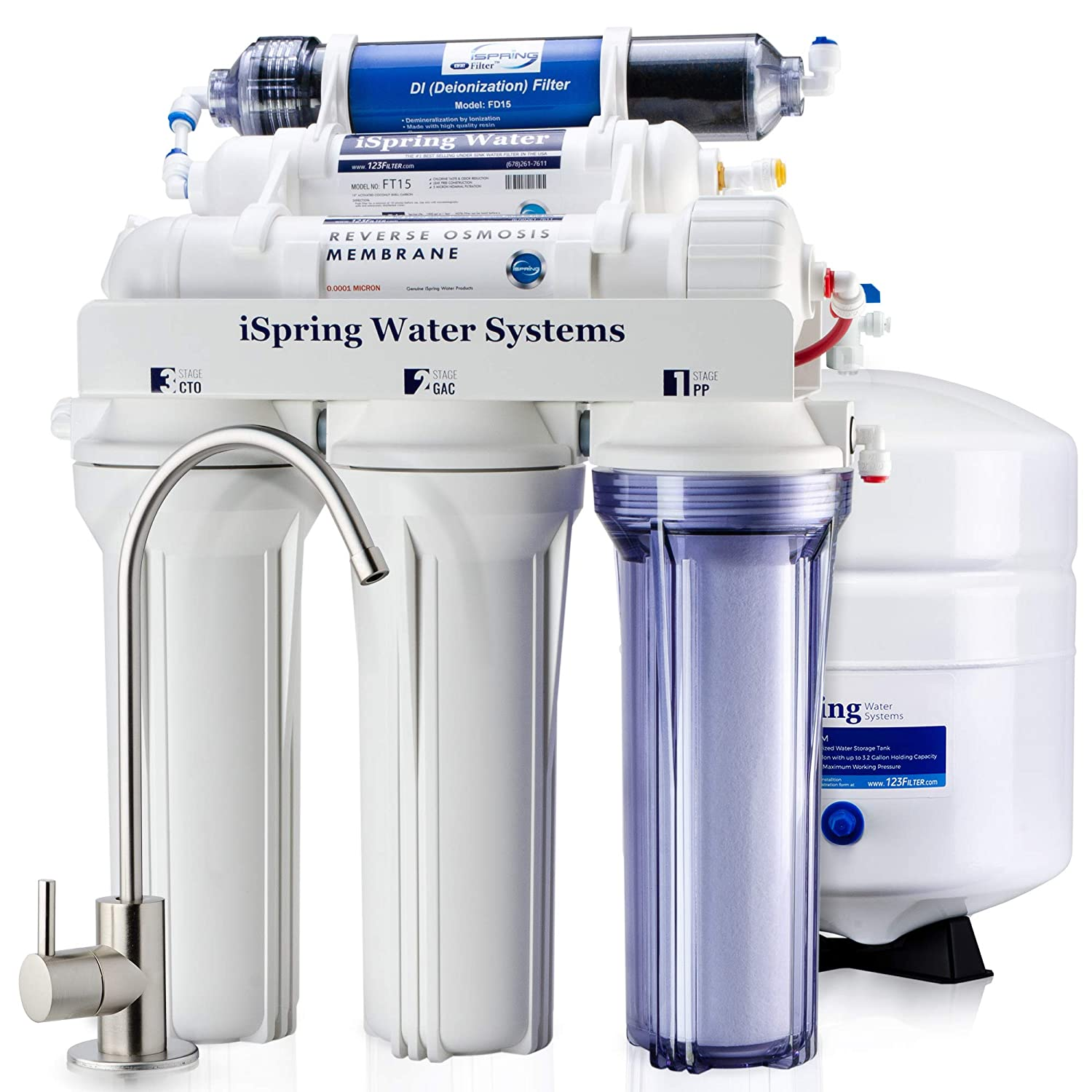 iSpring RCC7D 75GPD Under Sink 6-Stage Reverse Osmosis Drinking Water Filtration System and Ultimate Water Softener with DI (De-ionization) Water Filter