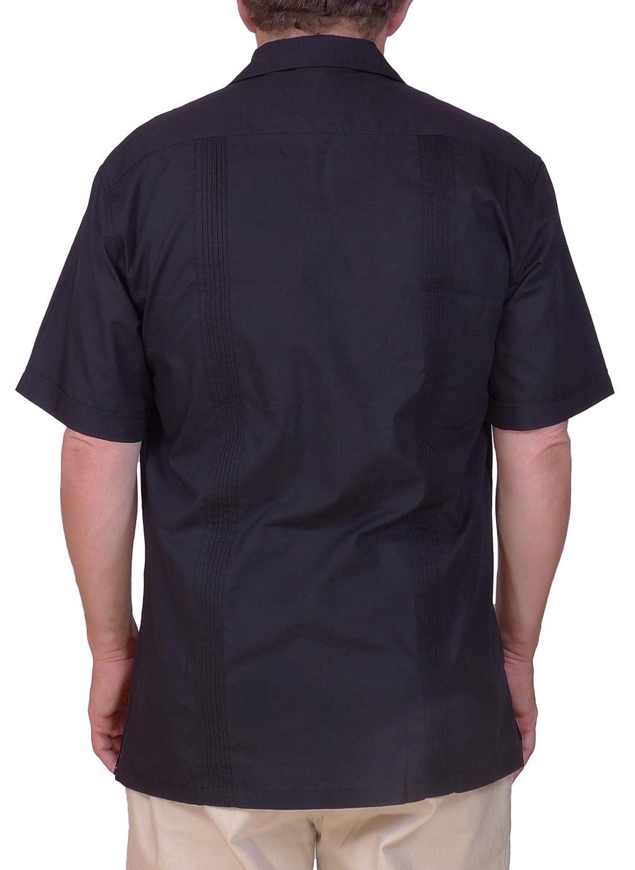 42e53bc1f66 Squish Cuban Style Guayabera Shirt   Black at Amazon Men s Clothing store   Button Down Shirts