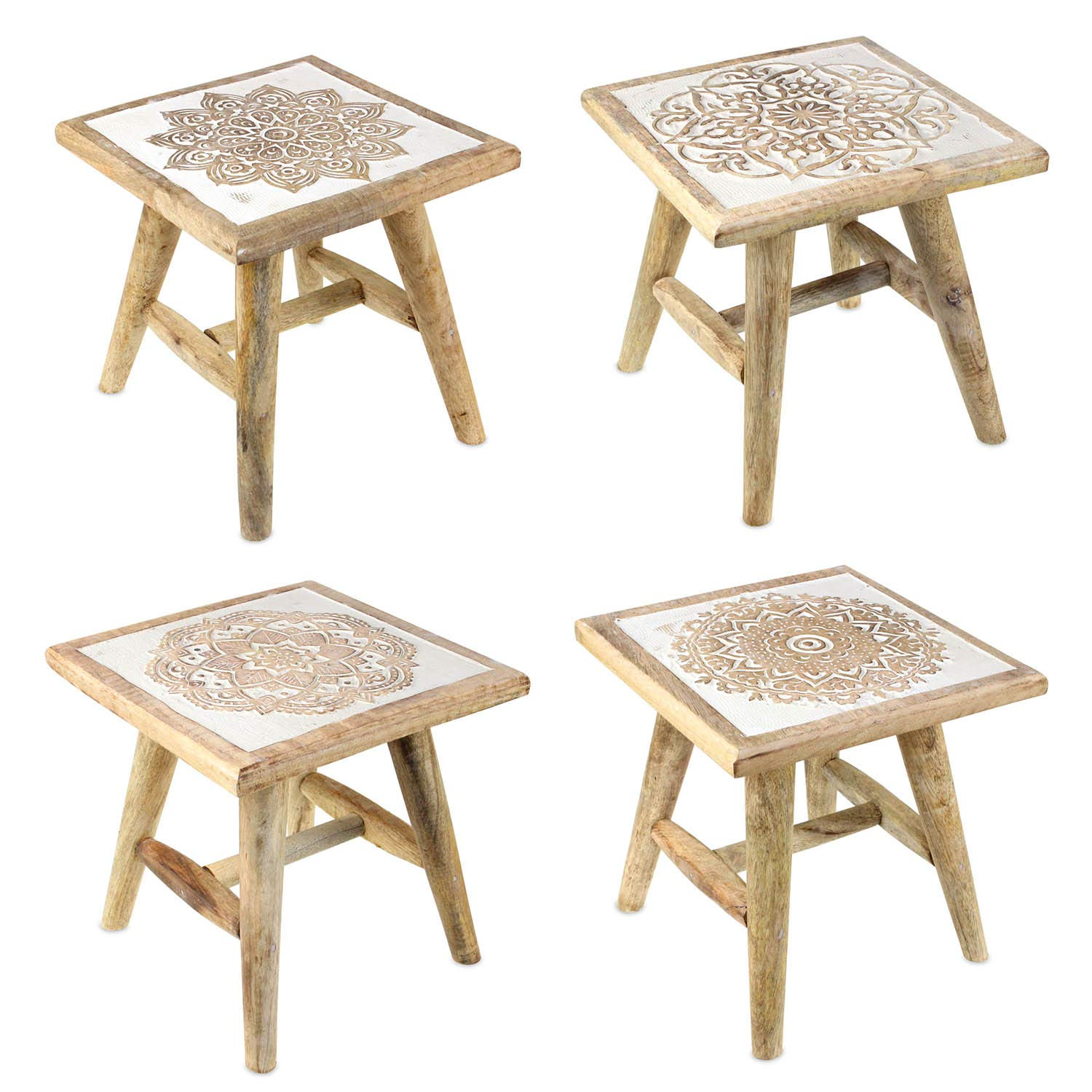 Carousel Home and Gifts White Washed Rustic Shabby Chic Wooden Hand Carved Mango Wood Stool ~ Design Vary