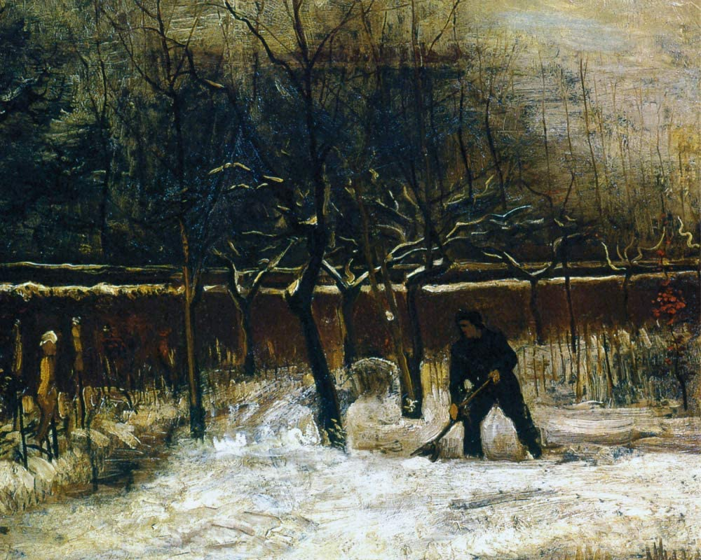 1art1 Vincent Van Gogh Poster Art Print - The Parsonage Garden of Nuenen in The Snow, 1885 (20 x 16 inches)