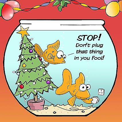 Tarjeta de felicitación de Navidad con carpas doradas, un árbol de