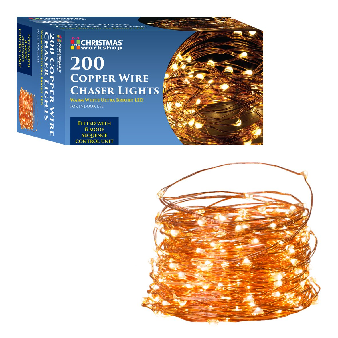 Christmas Workshop 200 Copper Wire Warm White Led Chaser String How To A Lights Metal Garden Outdoors