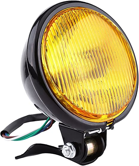 Amber 5 Motorcycle Headlight Lamp Bulb For Yamaha Kawasaki Honda Suzuki Choppers Round Aramox Headlight Bulb