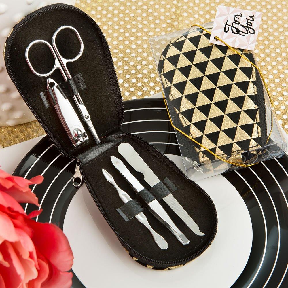 56 Modern Geometric Design Shiny Black and Gold Manicure Sets by Fashioncraft