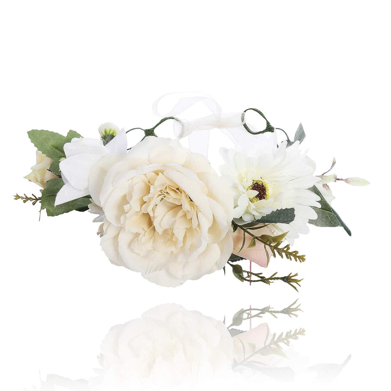 White Boho Rose Floral Head Garland Flower Headband Floral Headdress Wedding