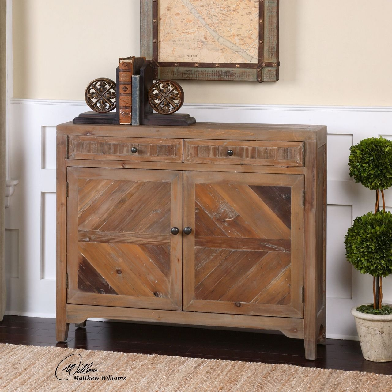 Amazon.com: Reclaimed Wood Console Cabinet | Traditional Sofa Table Drawers:  Kitchen U0026 Dining