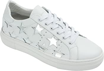 423f8cd407 AnnaKastle Womens Genuine Leather Star Fashion Lace Up Platform Sneakers