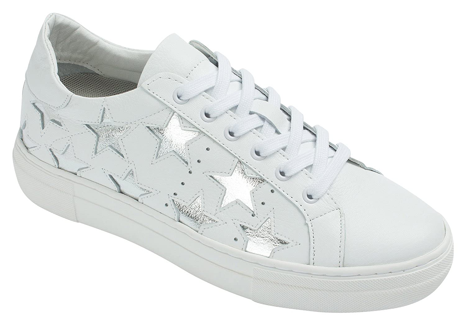 5818031f4430 AnnaKastle Womens Genuine Leather Star Fashion Lace Up Platform Sneakers -  Casual Women s Shoes