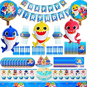 Shark Party Supplies for Baby,114 Pcs Shark Theme Birthday Party decorations for Kids - Includes Balloons, Table Cloth, Banner, Knives, Forks,Spoons,Cake Toppers,Gift Bags.Serves 10 Guest