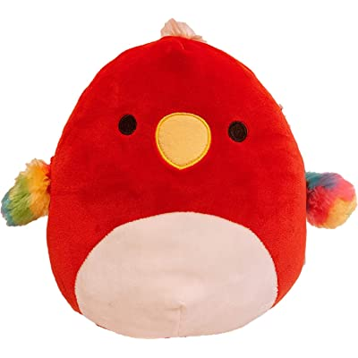 "Squishmallow Kellytoy Birds Collection Plush Toy (8"" Paco The Red Parrot): Toys & Games"