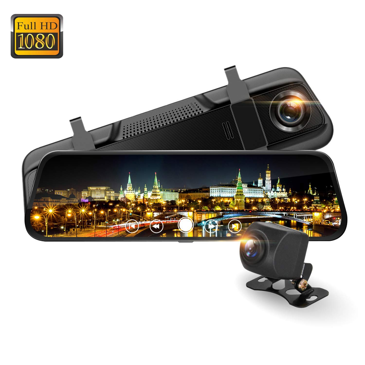 Rear View Camera 9.66'' Mirror Dash Cam, Spedal M8 Full HD 1080P Front and Rear Backup Camera with Dual Wide Angle Lens, Waterproof Rear Camera, Night Vision, G-Sensor and Loop Recording