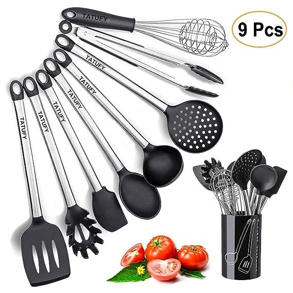 Juego de 8 utensilios de cocina de silicona, antiadherentes, de acero inoxidable, antiarañazos, para cocina, pinzas, cuchara de servir, pasta, serviente, ...