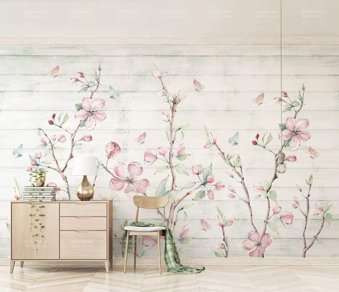Amazon com murwall watercolor floral wallpaper cherry blossom wall