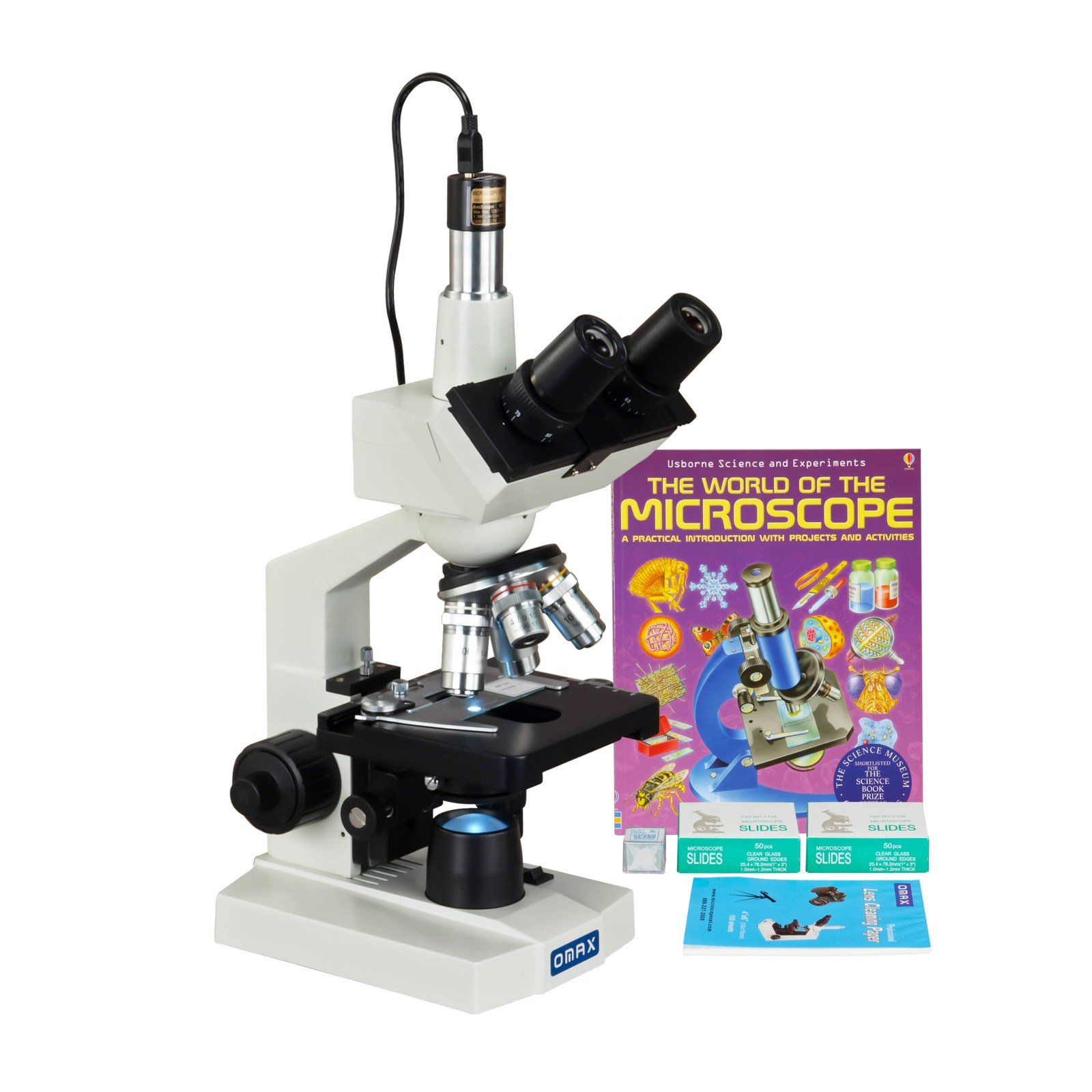 OMAX 40-2500X LED Digital Trinocular Lab Microscope + 5MP Camera + Blank Slides + Covers + Lens Paper + Book by OMAX