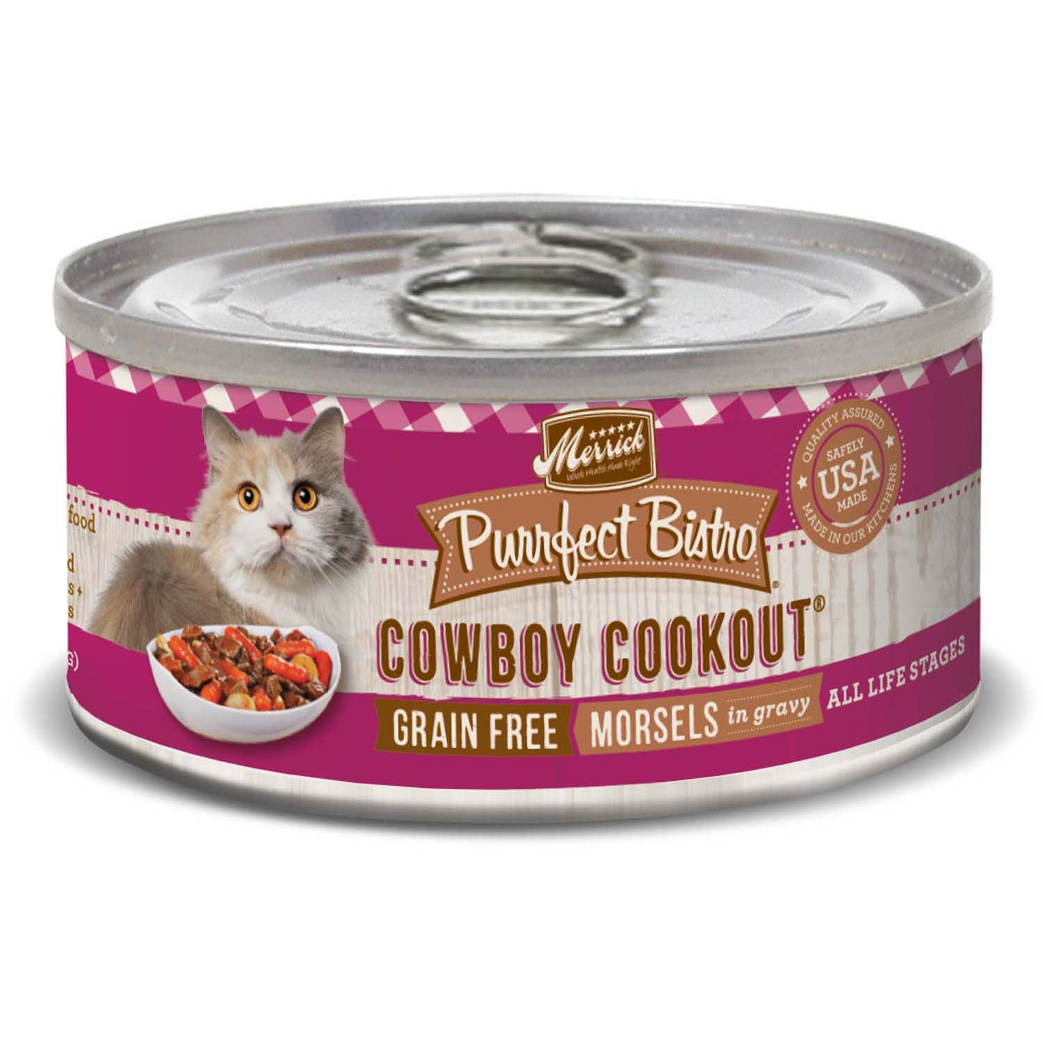 Merrick Purrfect Bistro Grain Free Cowboy Cookout Wet Cat Food, 5.5 oz, Case of 24, 24 X 5.5 OZ