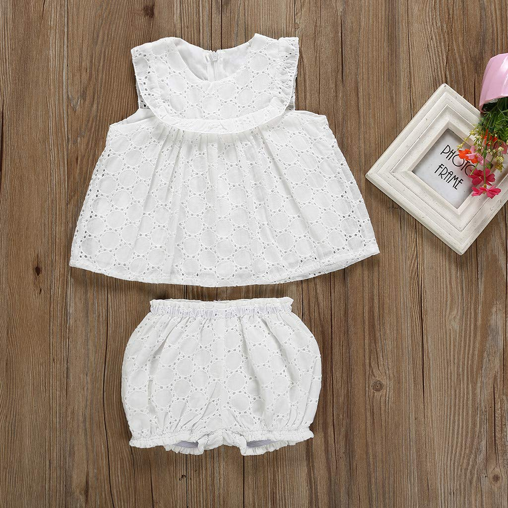 Womola Toddler Kids Baby Girl Clothes 2pcs Outfits Sleeveless Lace Hollow Top Shorts Set