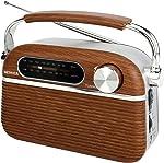 SEMIER Retro AM FM Portable Radio Bluetooth Speak,Battery Operated Radio by