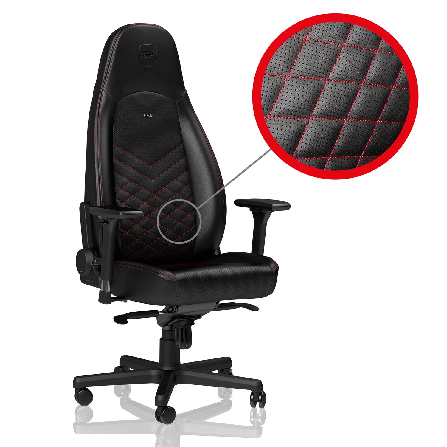 noblechairs ICON - Black/Red - Gaming Chair / Office Chair / Desk Chair