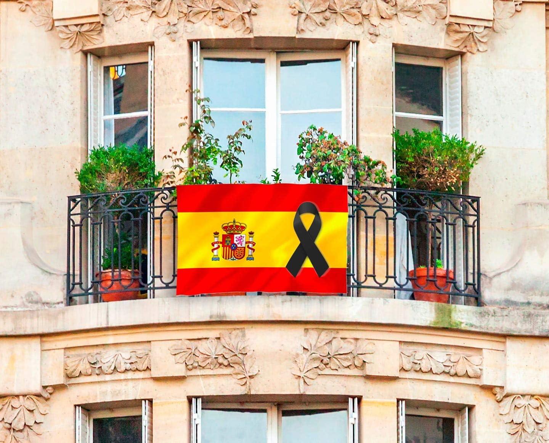 L1NK STUDIO Bandera de españa para el balcón con crespon Negro 136x89 cm: Amazon.es: Jardín