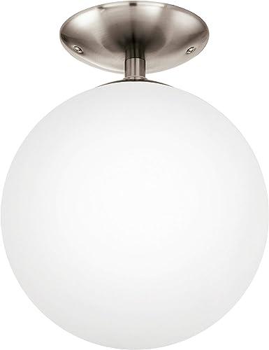 Eglo 91589 Plafonnier Rondo avec verre opalemat, diamètre 25 cm, acier, nickel mat