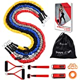 Coolrunner Resistance Bands Set, 13 PCS Workout Bands, 20lbs to 40lbs Resistance Tubes with Nylon Sleeve, Men Elastic Exercise Bands with Handle Door Anchor Ankle Strap - Stackable Up to 150lbs