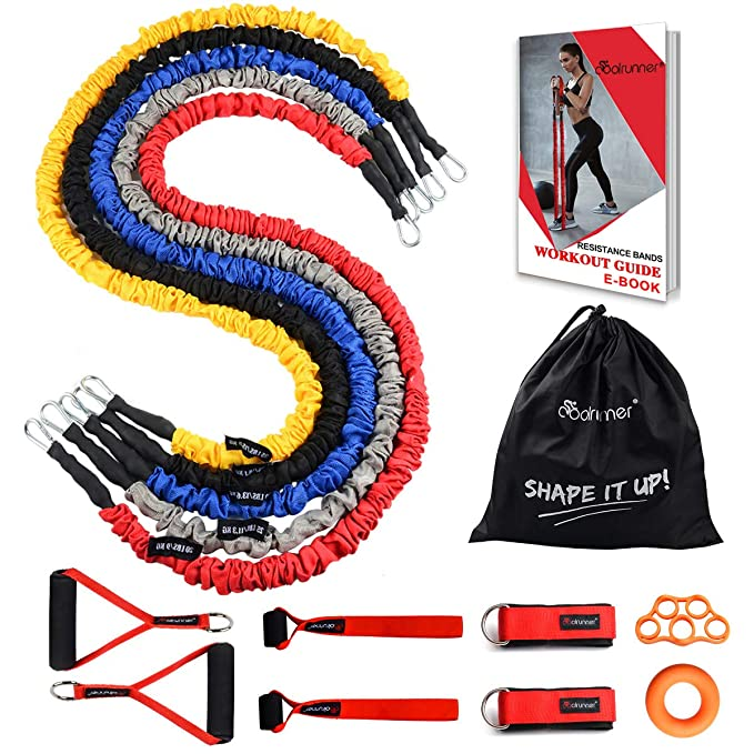 Coolrunner Resistance Bands Set, 14 PCS Exercise Tubes, 20lbs to 40lbs Workout Bands with Handles Protective Nylon Sleeves Door Anchor Ankle Strap, Elastic Exercise Bands for Men Women - up to 150lbs best resistance bands