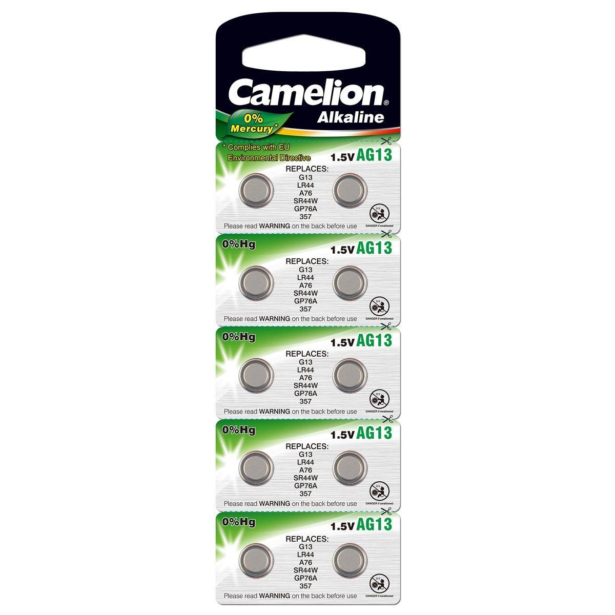 Camelion 12001013 Plus Alkaline Knopfzelle (AG13, LR44, LR1154, 357, 10er Blister)