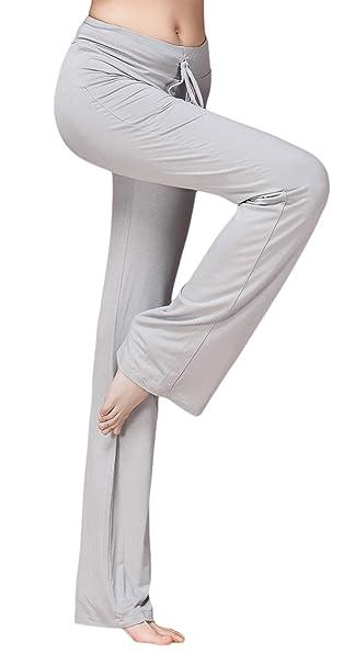 SHEKINI Women's Bootcut Yoga Pants Drawstring Casual Loose Wide Leg Bootleg  Trousers with Elasticated Waist Pants
