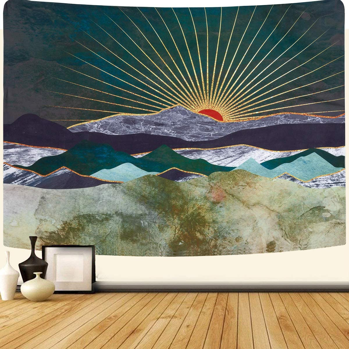 SENYYI Mountain and Sunset Tapestry Wall Hanging Shining Sun and Nature Landscape Tapestry Abstract Art Home Decor for Room 70.9 x 92.5 inches