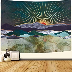 SENYYI Mountain and Sunset Tapestry Wall Hanging Shining Sun and Nature Landscape Tapestry Abstract Art Home Decor for Room (51.2 x 59.1 inches)