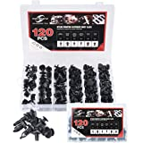 moveland 120 Pcs 6.3mm 8mm 9mm 10mm Nylon Bumper Push Fasteners Rivet Clips Expansion Screws Replacement Kit