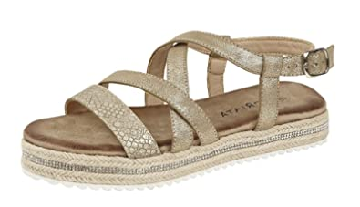 0a82f312d0c Cipriata Womens Ladies Strappy Adjustable Buckle Comfort Flat Sandals Gold  Silver Shimmer Size 3-8  Amazon.co.uk  Shoes   Bags