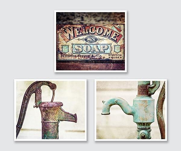 Farmhouse Bathroom Wall Decor Print Set, Discount Set Of 3 Prints For  Rustic Bath Art