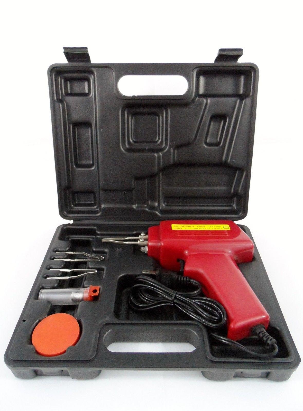 5pc 100w Soldering Gun Kit W/case Iron Solder Professional Style Sodering