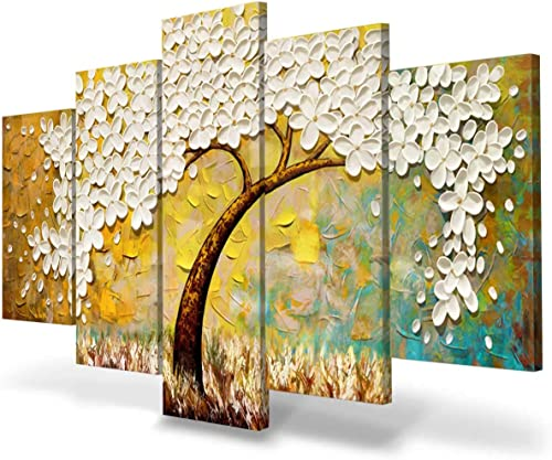 JIMHOMY Modern Floral Abstract Artwork 5 Piece Canvas Wall Art White Flowers and Tree Wall D cor Prints Painting