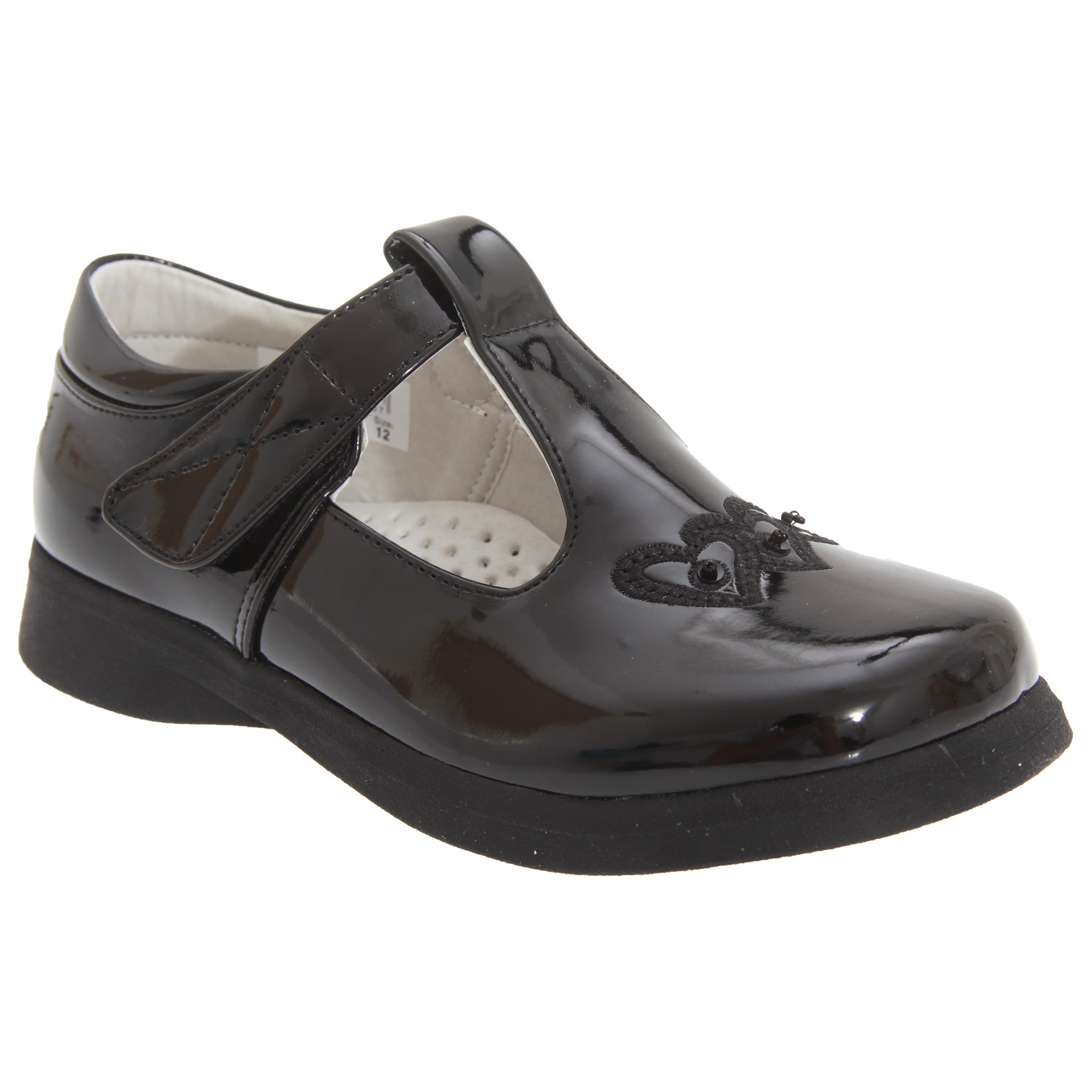 Boulevard Big Girls Touch Fastening T Bar Shoes (12 Child US) (Black Patent)