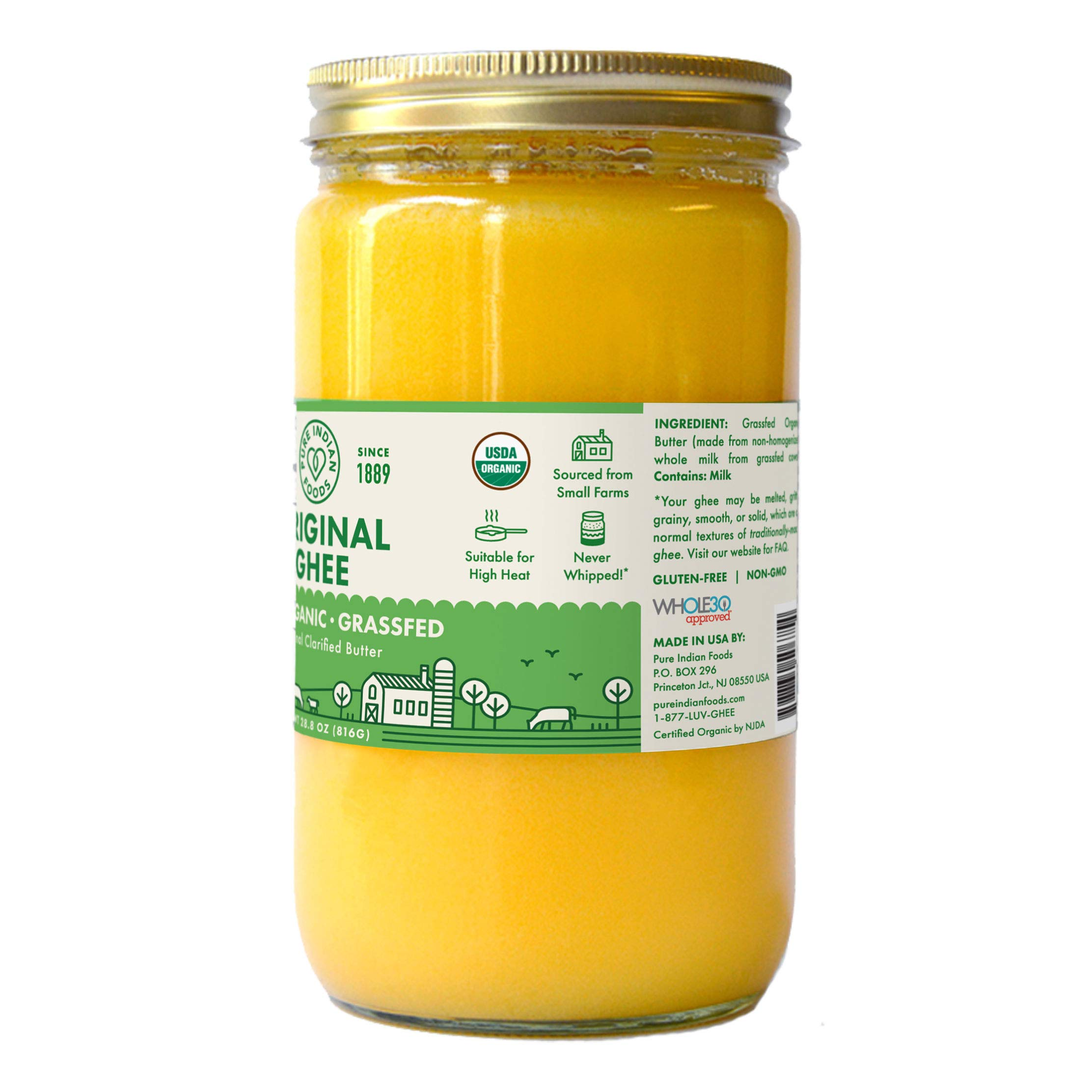 Grassfed 100% Organic Ghee 28.8 oz (One Quart or 32 fl oz) by Pure Indian Foods (Image #2)