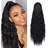 Eerya Curly Wavy Ponytail Hair Extension Water Wave Hair Piece Heat Resisting Fiber Synthetic Drawstring Pony Tail…