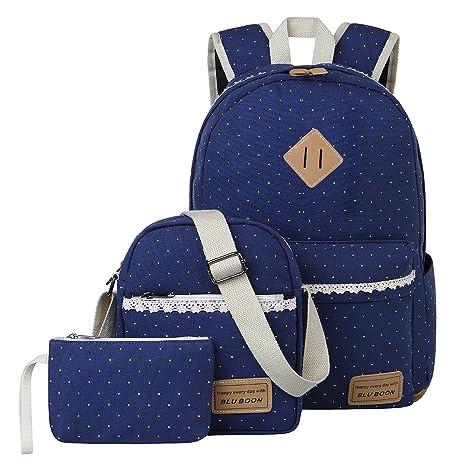 78c9b118e8 Tela Zaino Casual Scuola Zaini Donna Ragazza Canvas Backpack Zainetto 3 in  1 (Blu)
