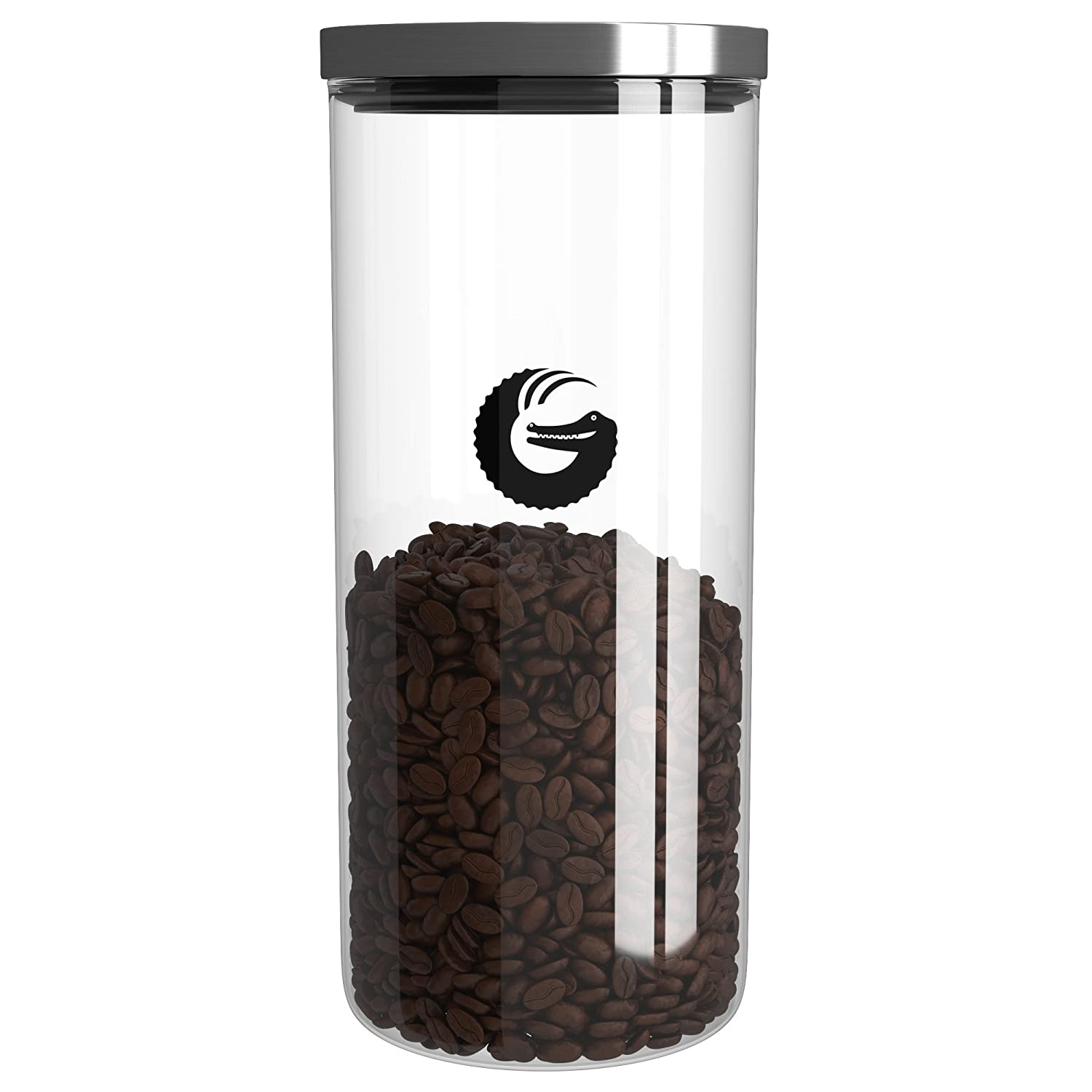 Coffee Gator Glass Storage Container – Display Jar for Pods, Beans and Grounds with 'Pop and Lock' Lid – 1.3l, 35 Nespresso