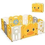 HONEY JOY Baby Play Yard, 12 Panel Psyduck Foldable Baby Gate Playpen, Anti-Slip Rubber Base & Suction, Indoor Safety Baby Fe