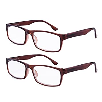 e13508ecce95 EYEGUARD High Magnification Power 2 Pairs Spring Hinge Reading Glasses  Ultra Clear Men Readers(+
