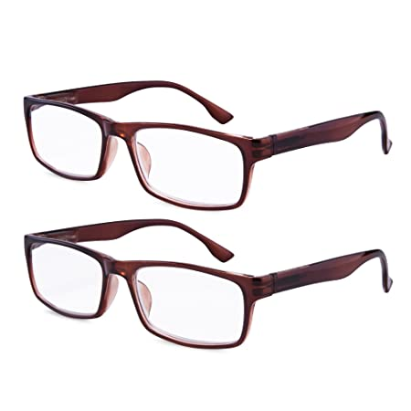 7ad693d39837 Amazon.com  EYEGUARD High Magnification Power 2 Pairs Spring Hinge Reading  Glasses Ultra Clear Men Readers(+4.50+5.00 +5.50+6.00)  Health   Personal  Care