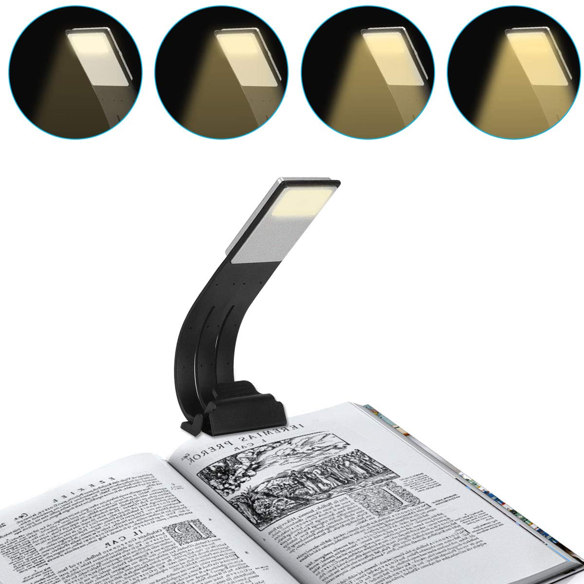 Aibesser Book Light Clip Reading Light with USB Rechargeable 4 Level Dimmable Flexible for Bed Reading
